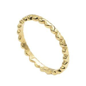 10K Solid Gold Heart Polished Eternity Ring
